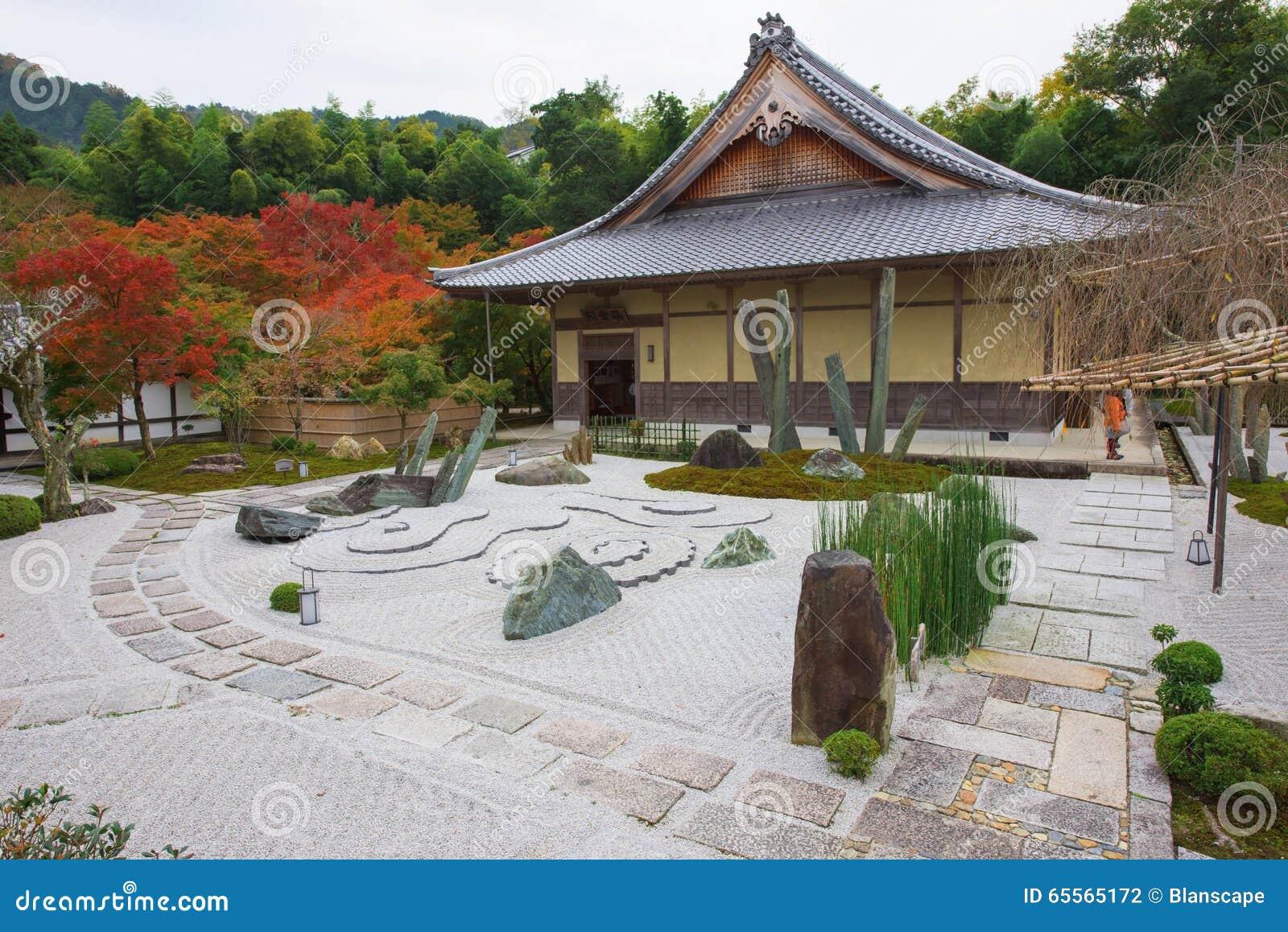 Stone Garden At Enkoji Temple In Kyoto Stock Photo Image Of Ponder