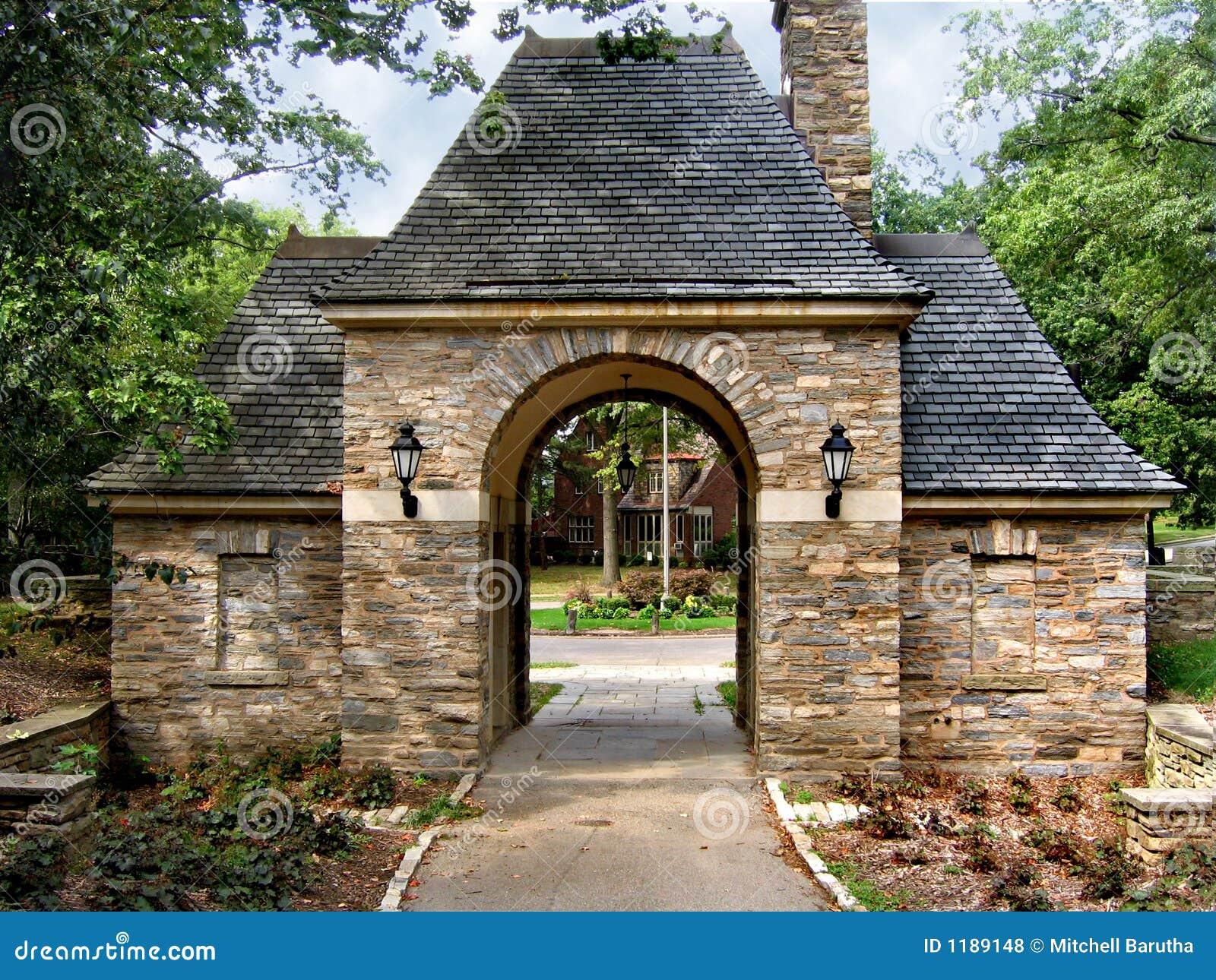 Stone Gatehouse Stock Photo Image Of Shingles Arch