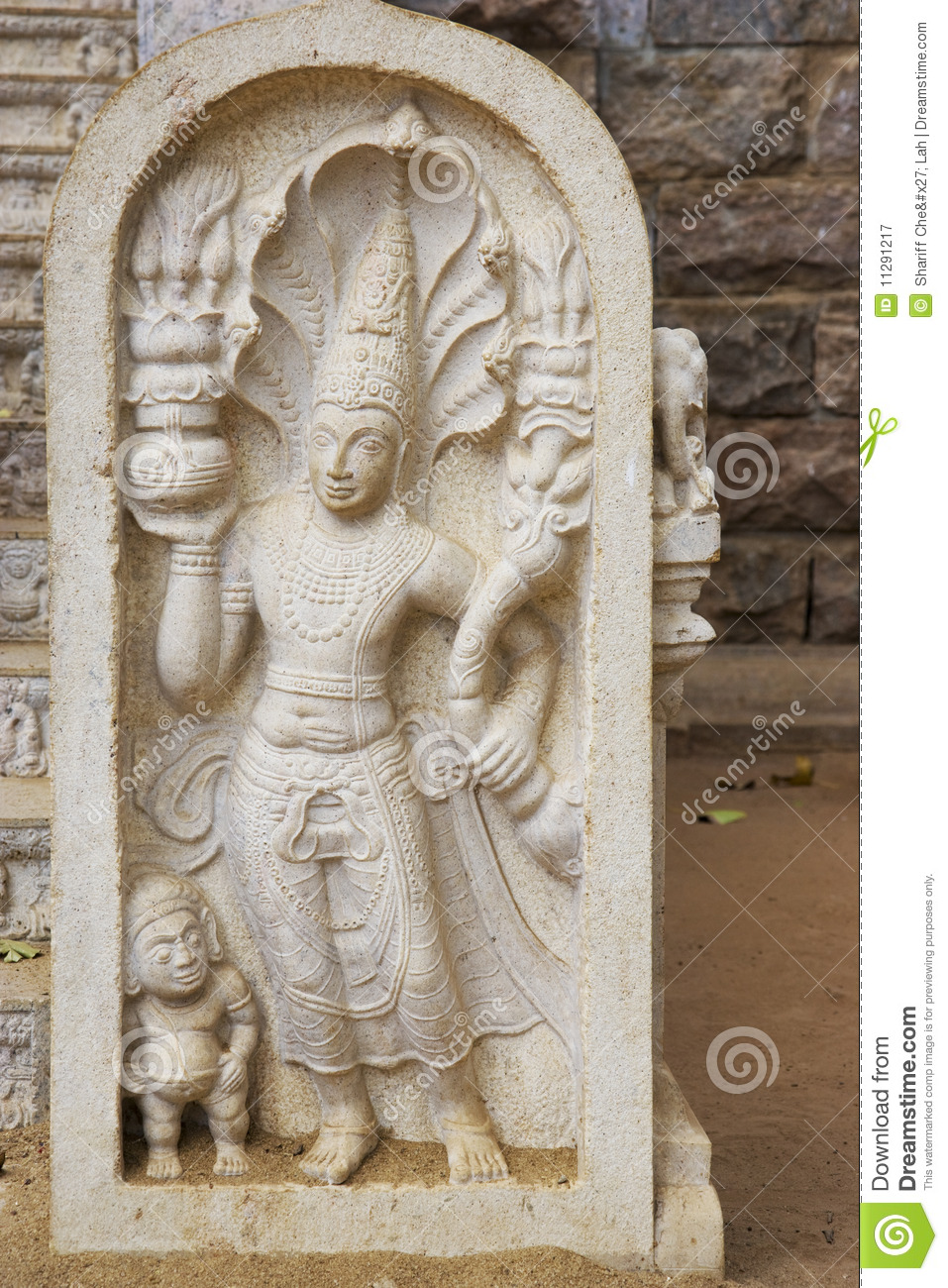Stone guardian at bodhi temple sri lanka royalty free