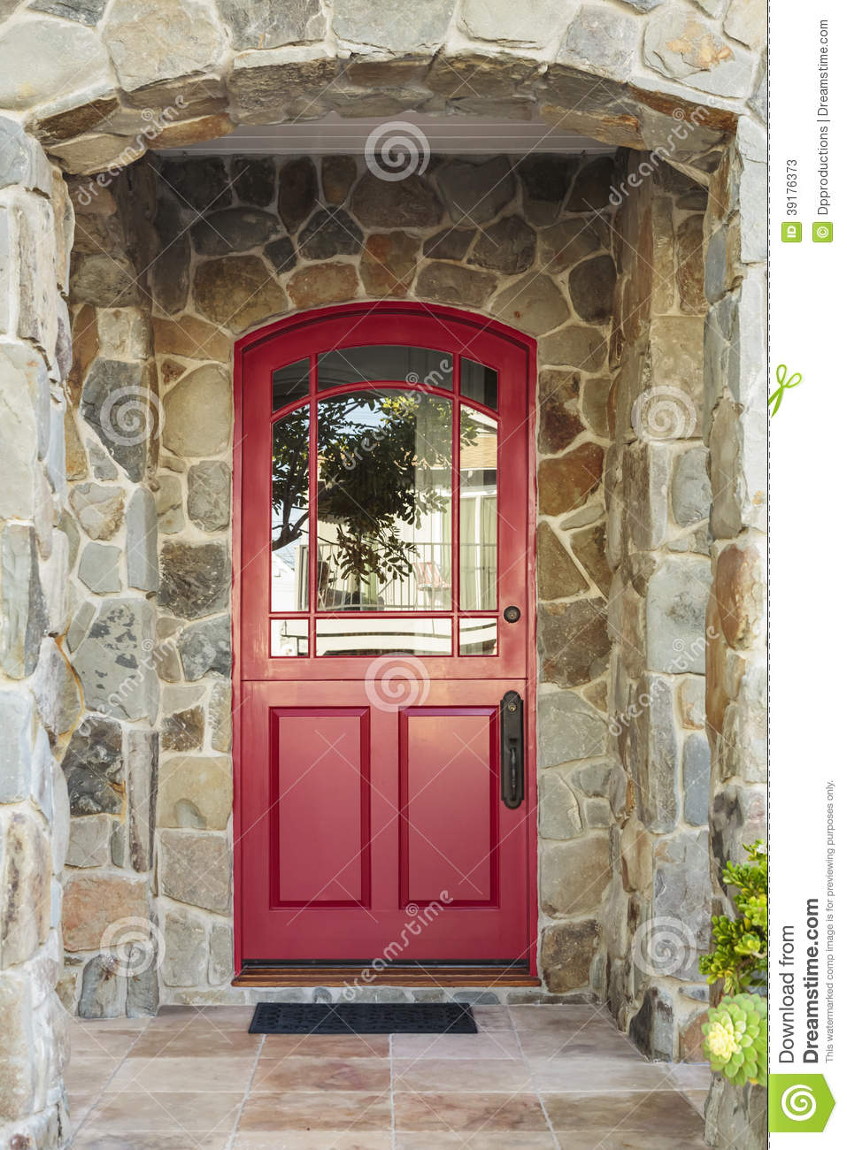 Stone House And Red Front Door Stock Photo 39176373 Megapixl
