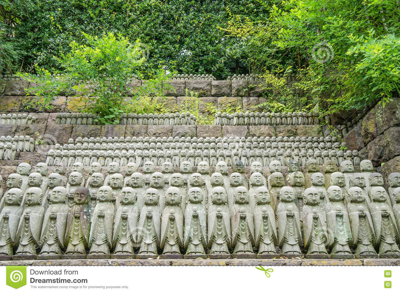 Stone Jizo Bodhisattva Statues In The Hase-dera Temple In Kamakura, Japan Sto...