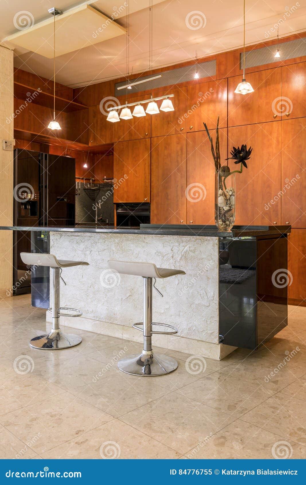 Stone Kitchen Island With Stools Stock Image Image Of Decor Equipment 84776755