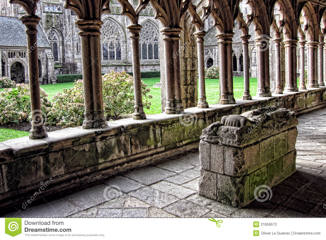 Stone Knight Tomb in Old Gothic Cathedral Cloister