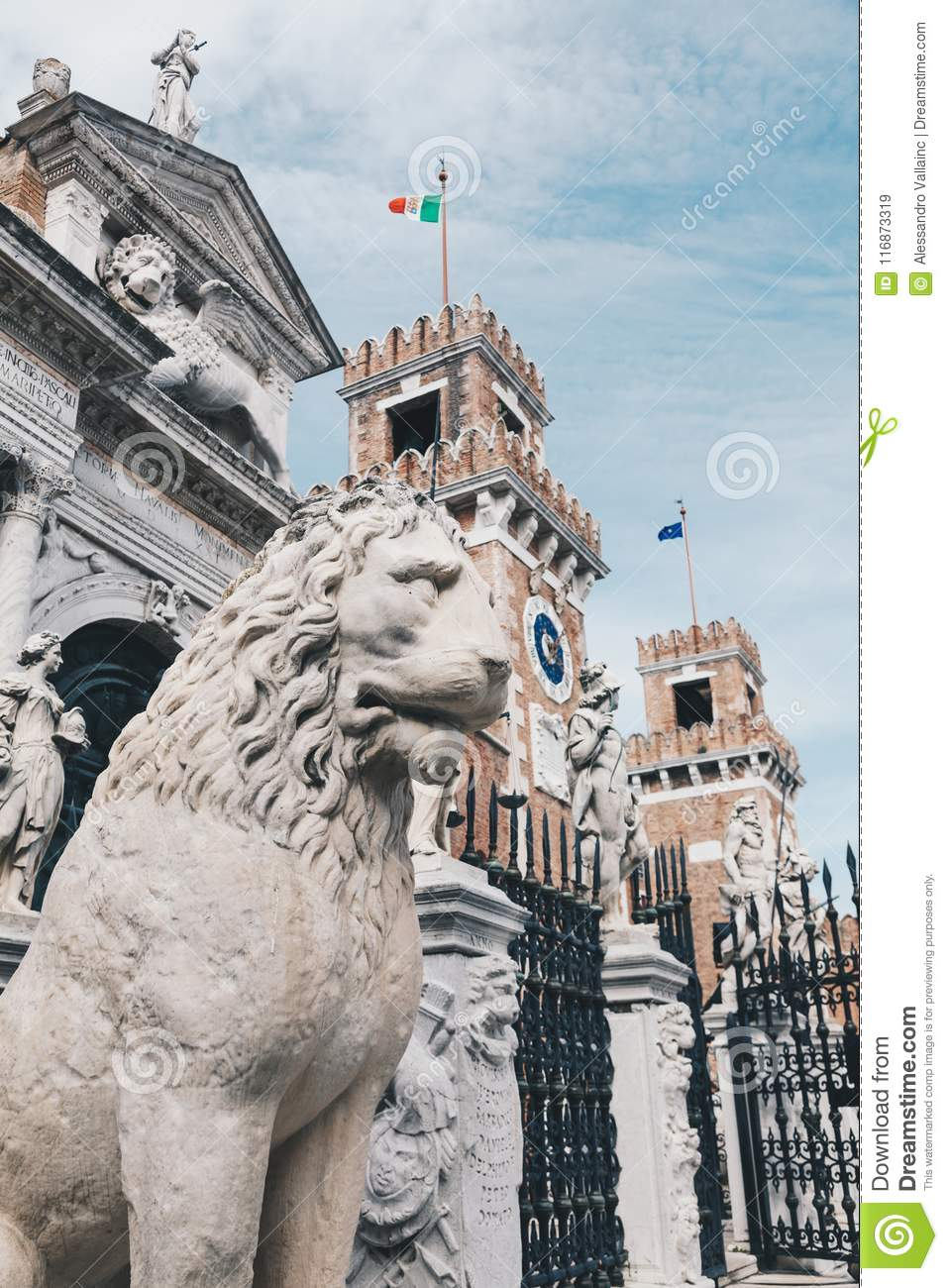 Stone Lion at the entrance of the Arsenal in Venice, Italy