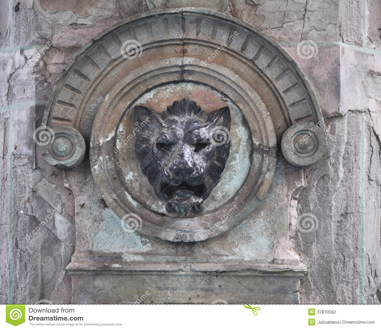 Stone lion head - Mexican fountain decoration