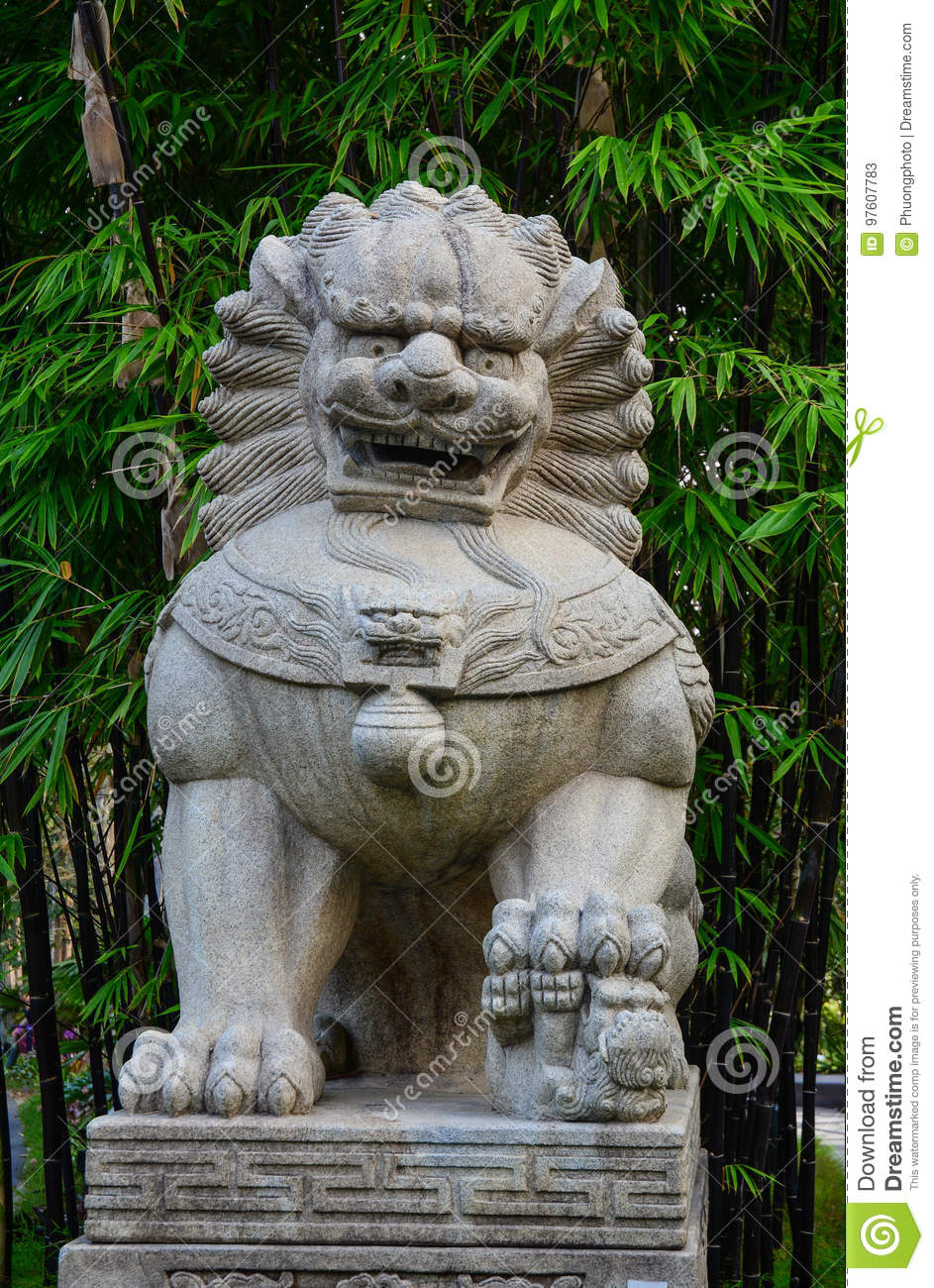 Download Stone Lion Statue At The Garden In Singapore Stock Image   Image  Of Ball,