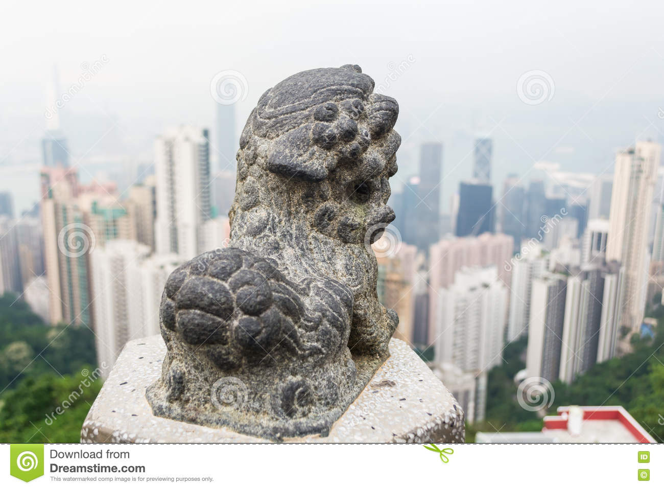 Stone lion statues and the city