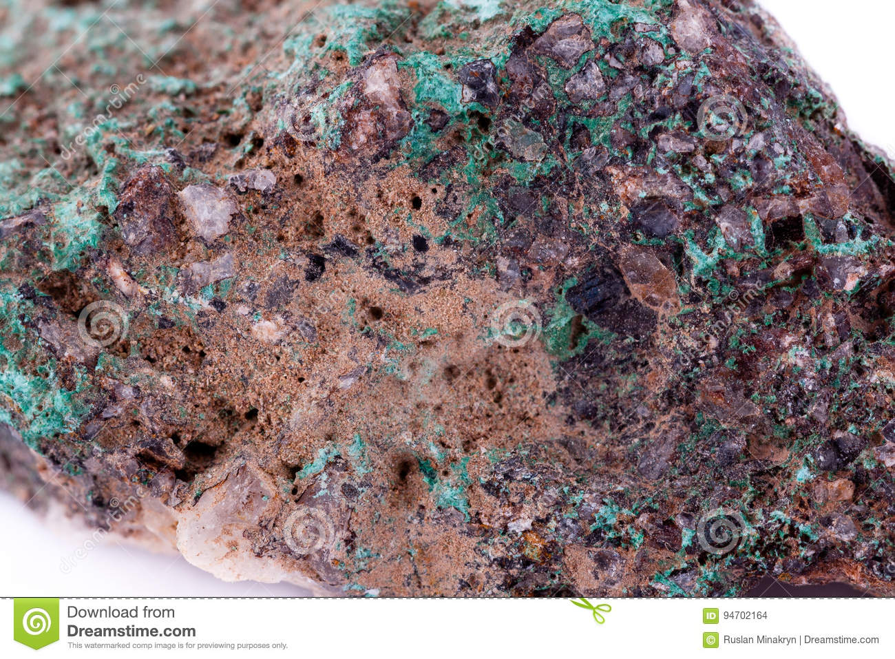 Stone macro mineral malachite on a white background