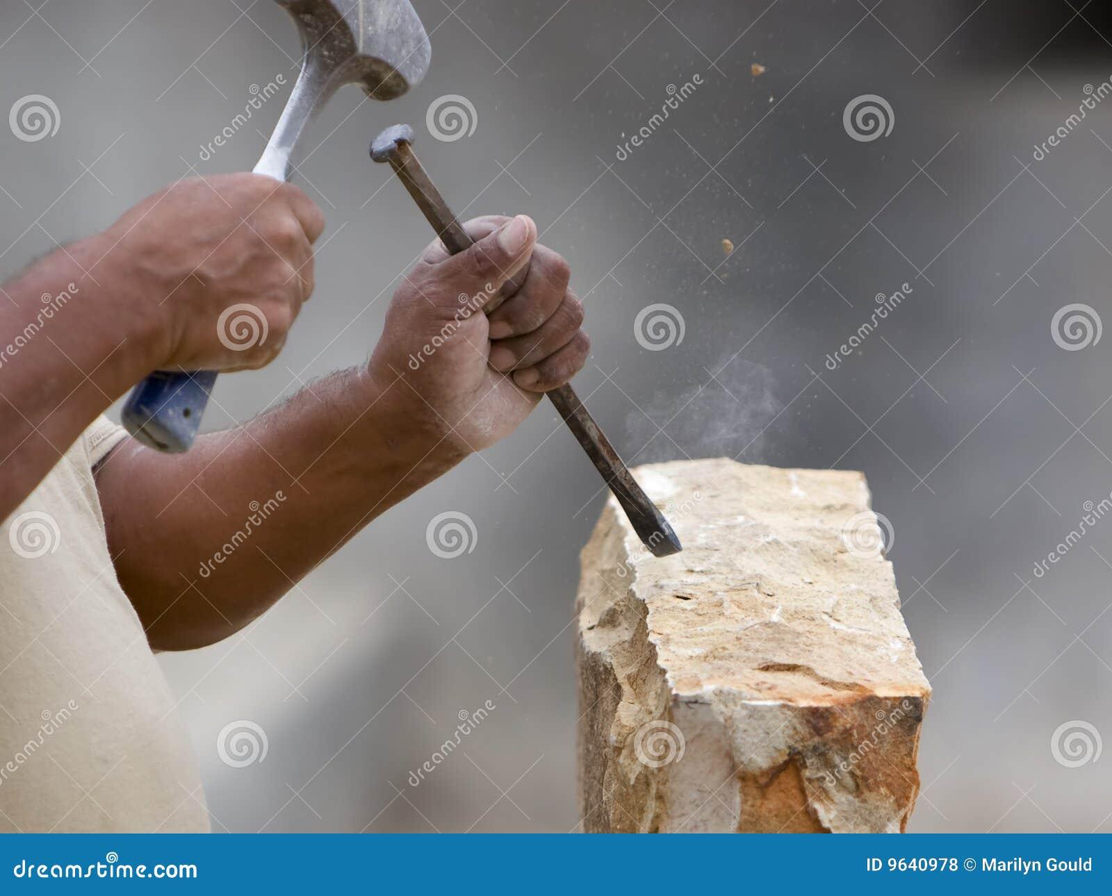 Stone Mason Shaping Block Of Stone Royalty Free Stock