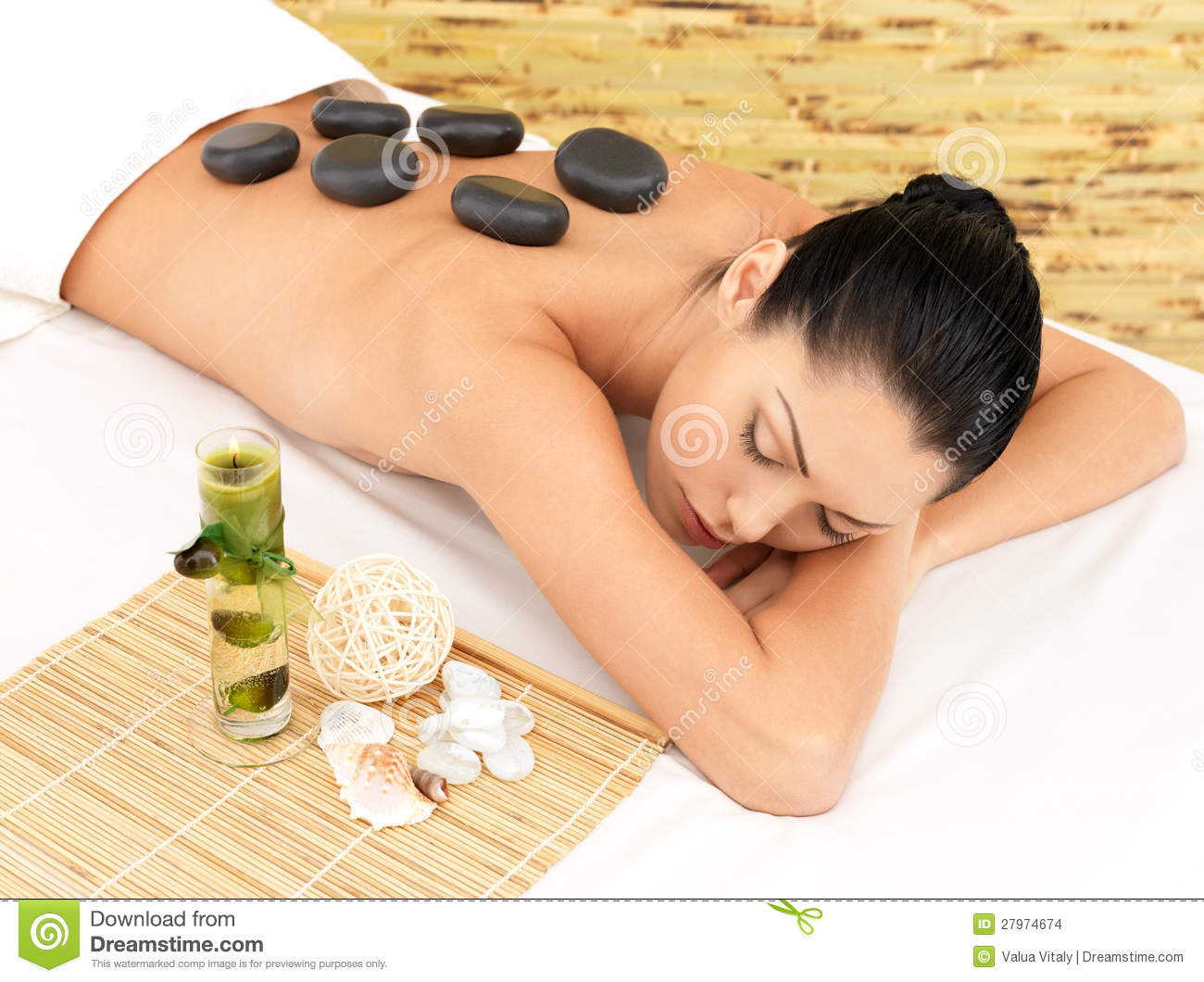 Stone Massage For Woman At Spa Salon Stock Image