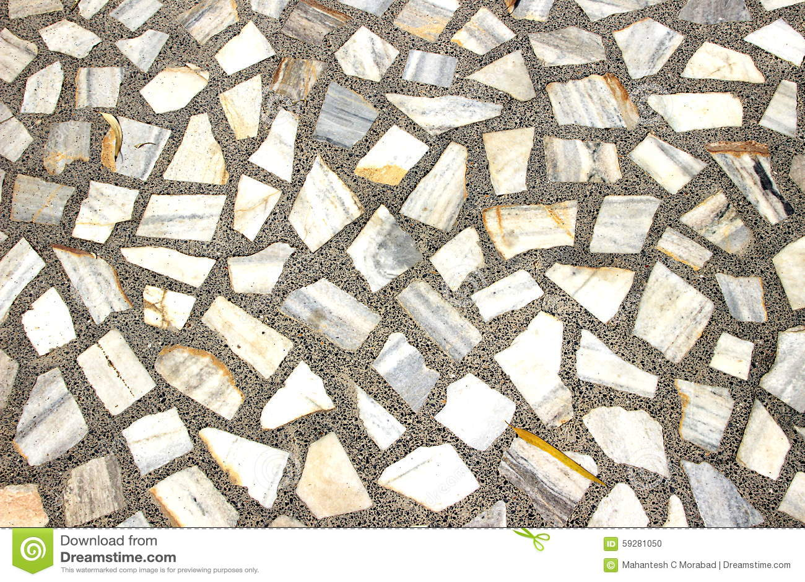 Mosaic Stone Cement : Stone mosaic floor pattern stock photo image
