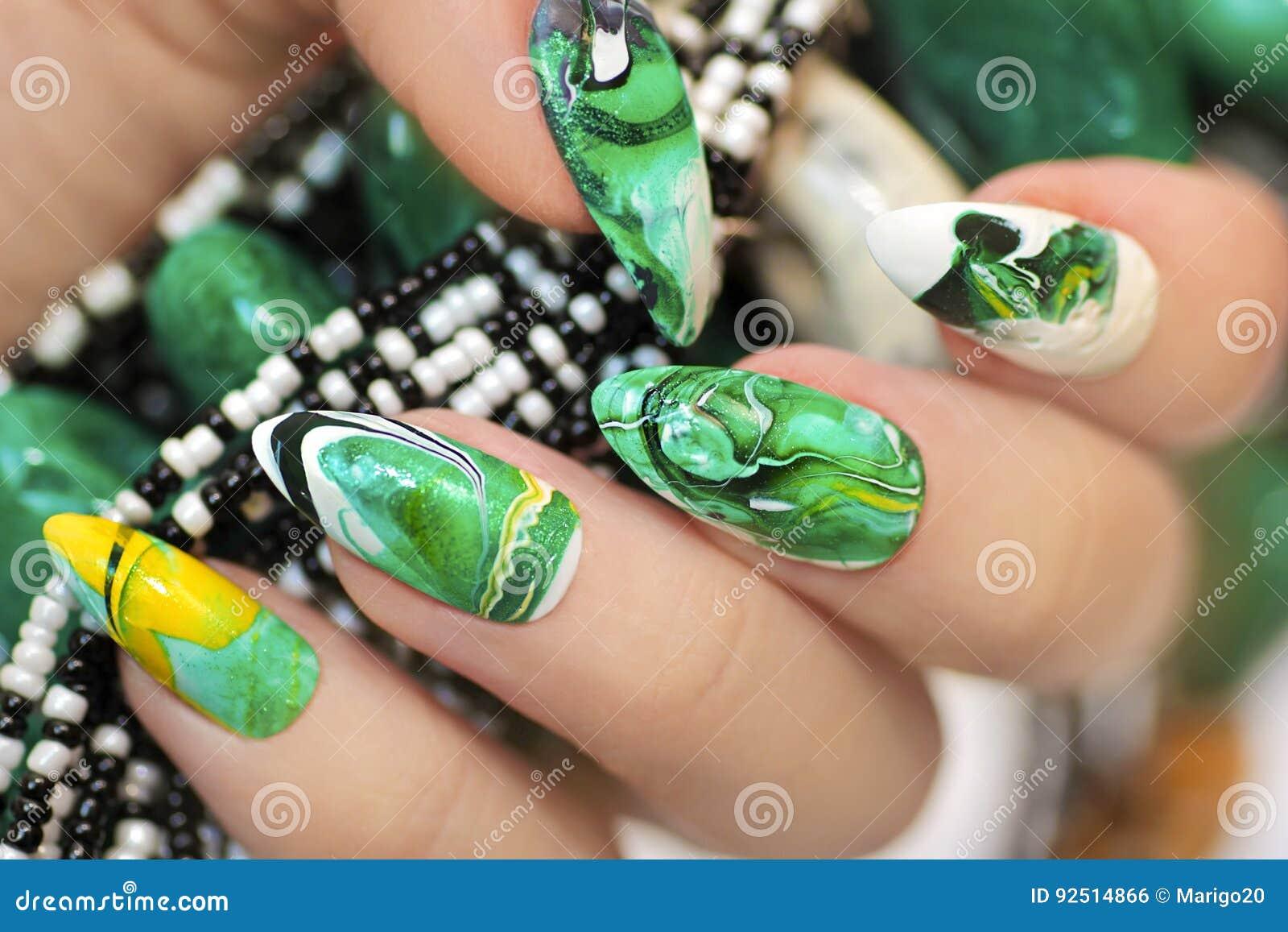 Stone nail design. stock photo. Image of hands, elegant - 92514866