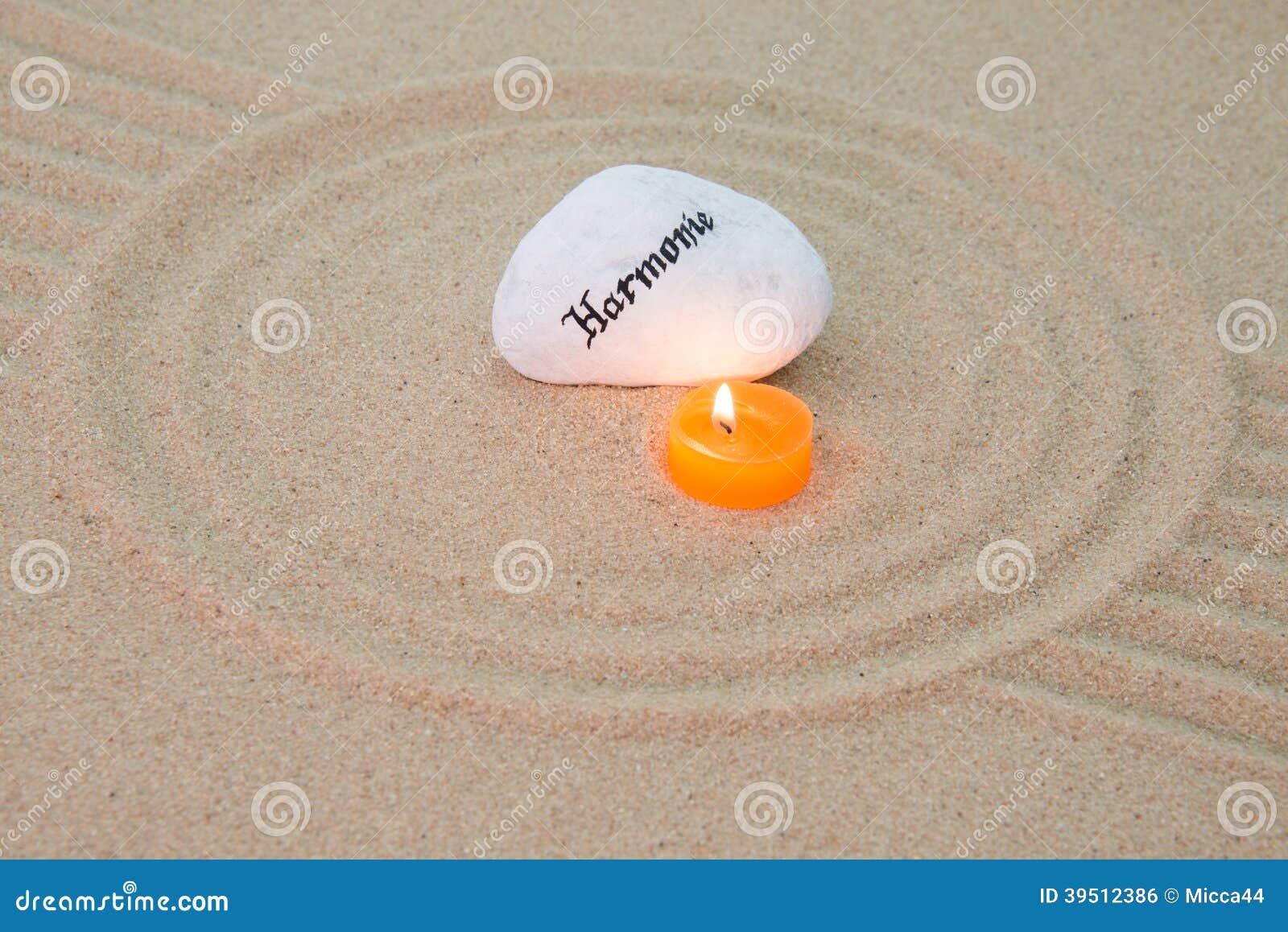 Stone onto sand