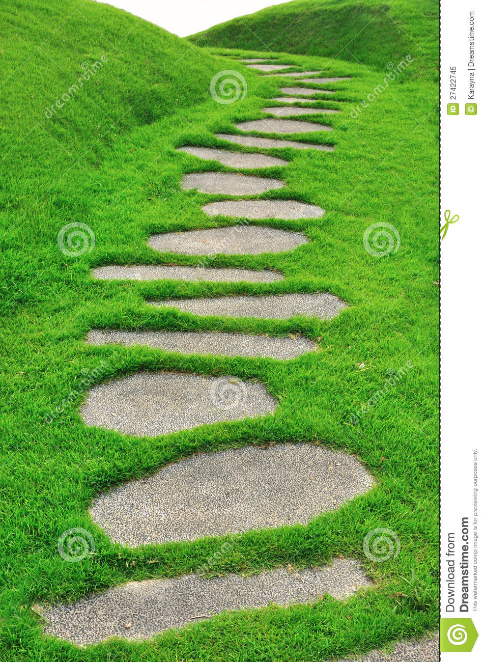 Stone path on green grass stock image image of paving for Stone path in grass