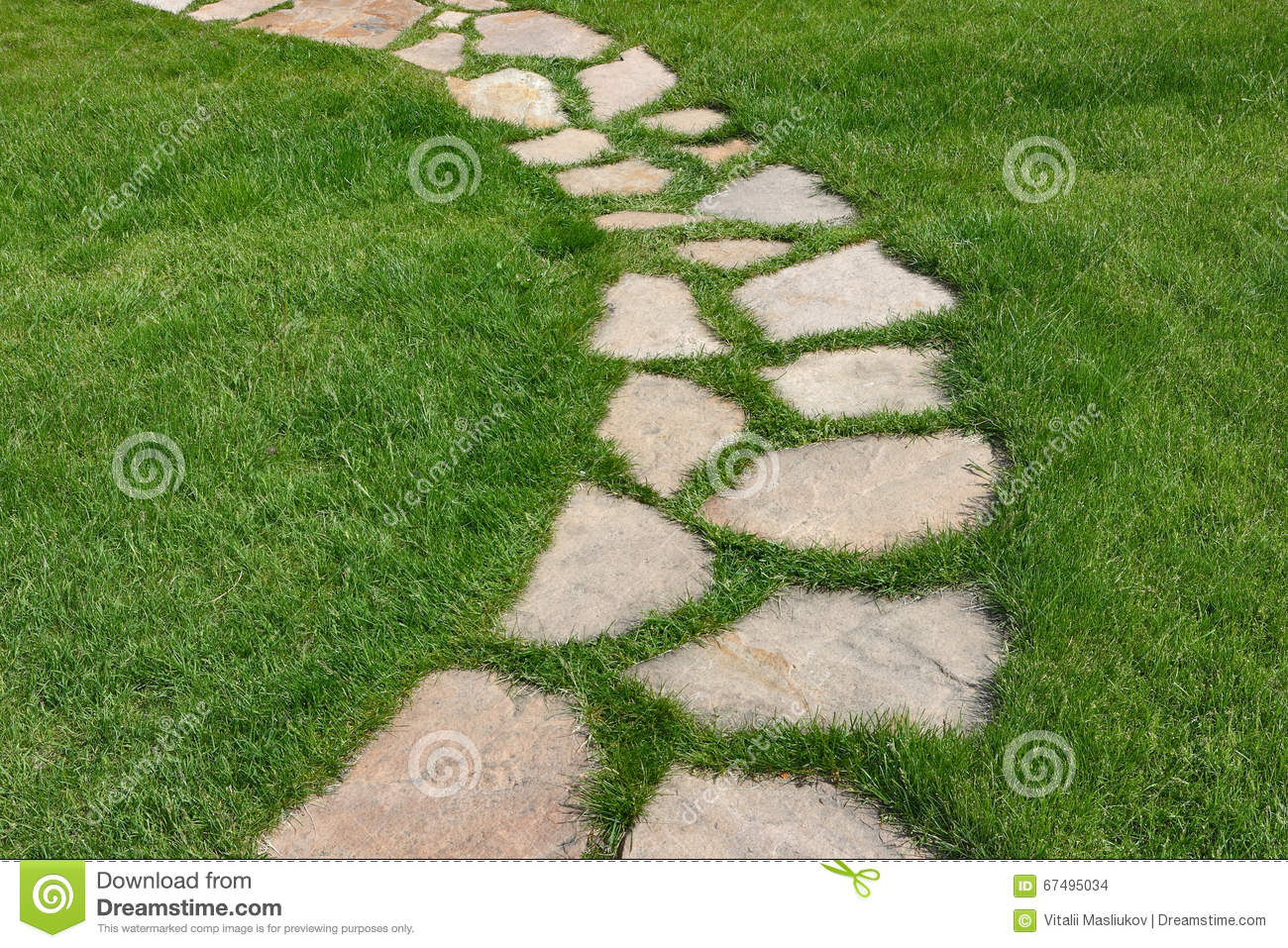 Stone Path On A Green Grassy Lawn Stock Photo Image