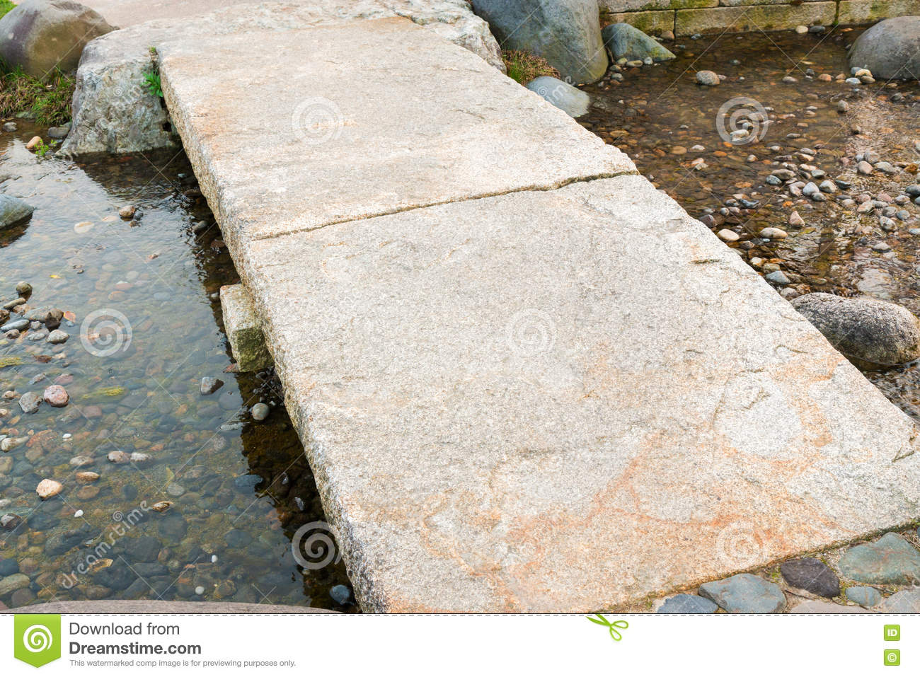 stone path in a japanese garden stone bridge across a pond royalty free