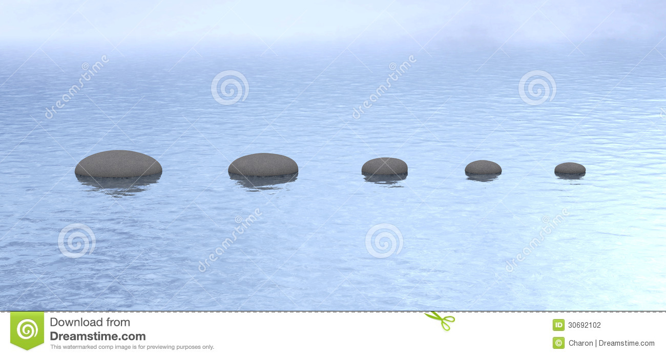 Stones path peaceful pond water