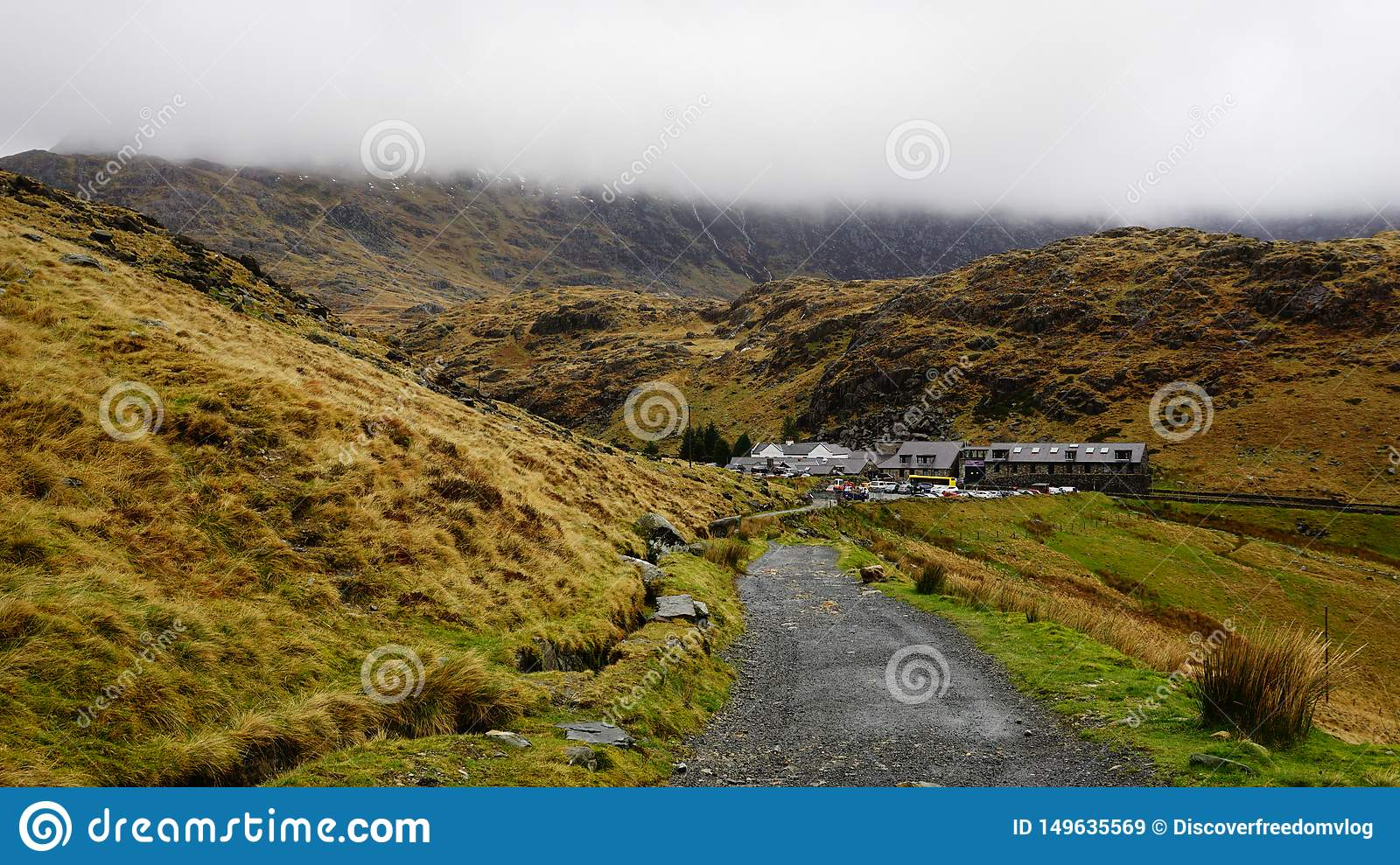 Stone Path with Village Houses in Snowdon, Wales, United Kingdom