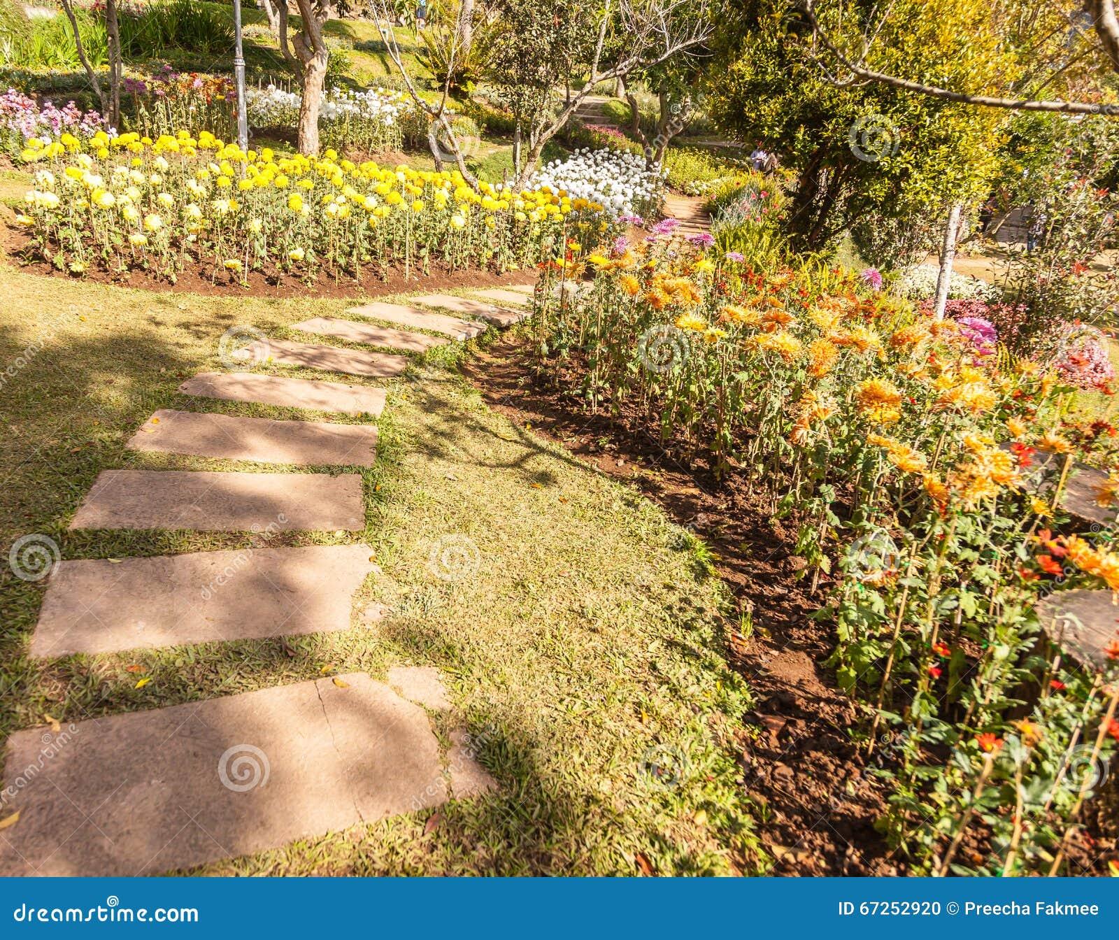 Stone Path Winding In Fresh Spring Flower Garden Stock Photo - Image ...
