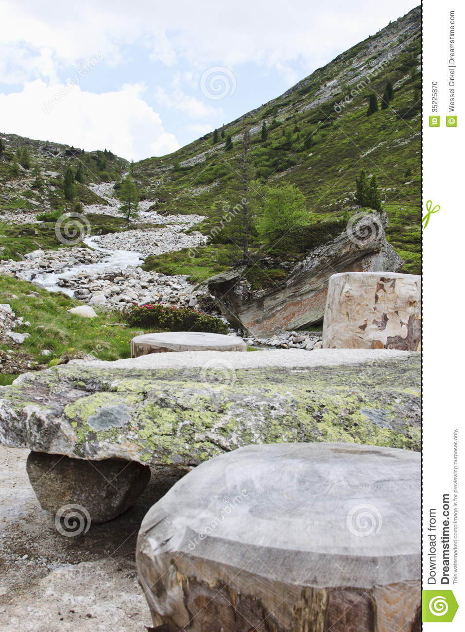 Stone Picnic Table In Tyroler Ziller Valley Austr Stock Photo - Stone picnic table