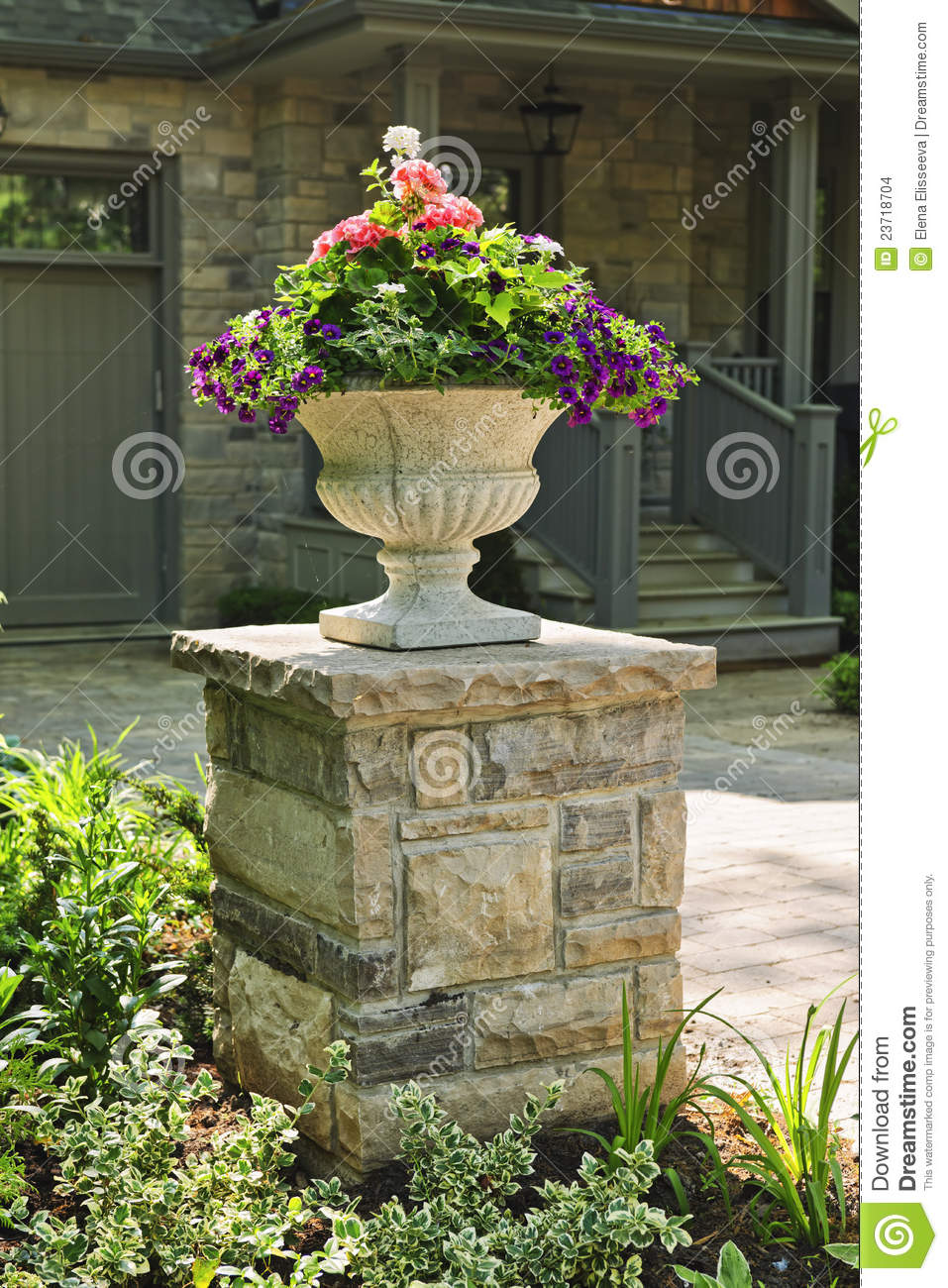 Stone Planter In Front Of House Stock Photo - Image of ...