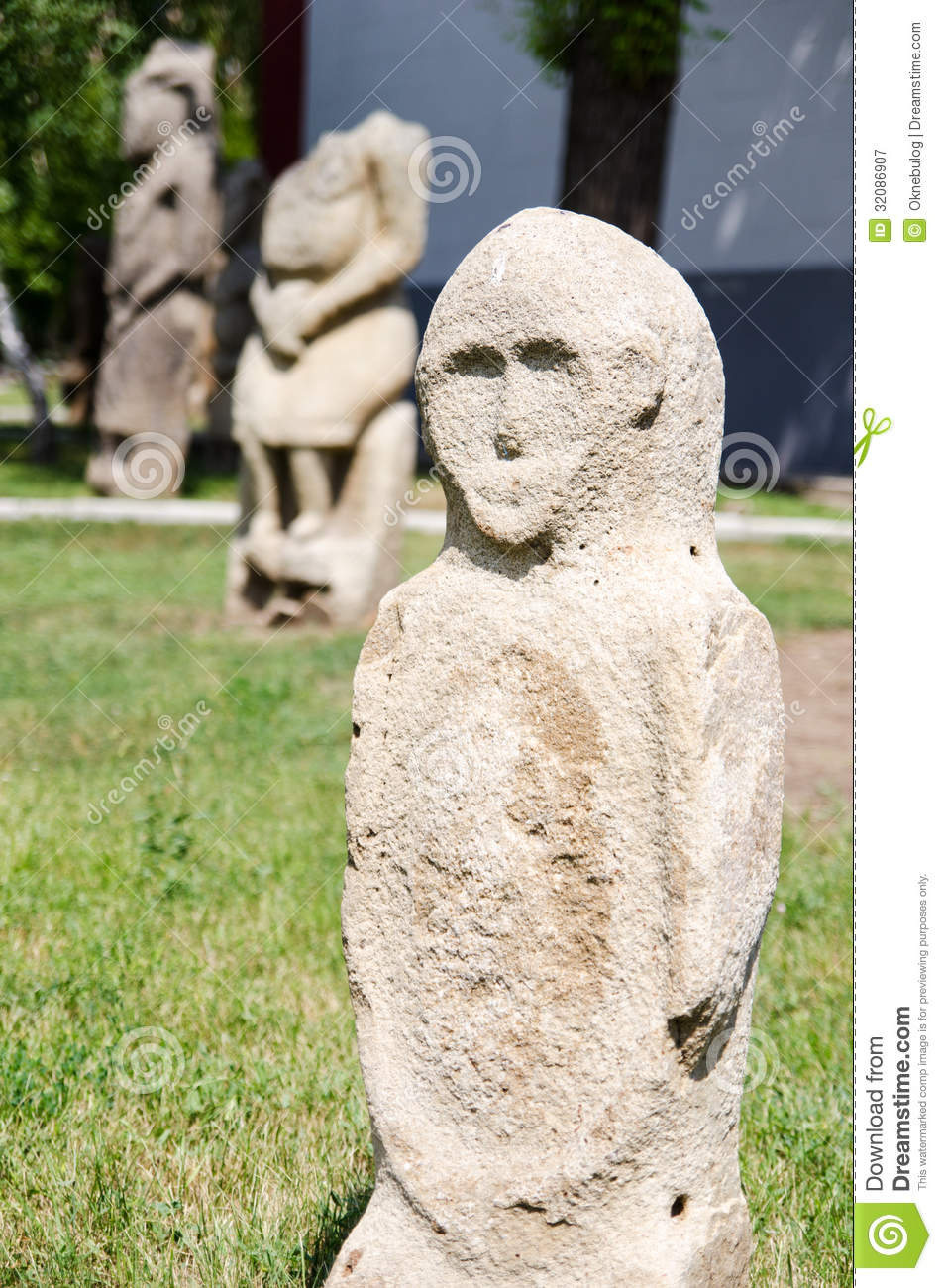Stone polovtsian sculpture in park-museum of Lugansk, Ukraine