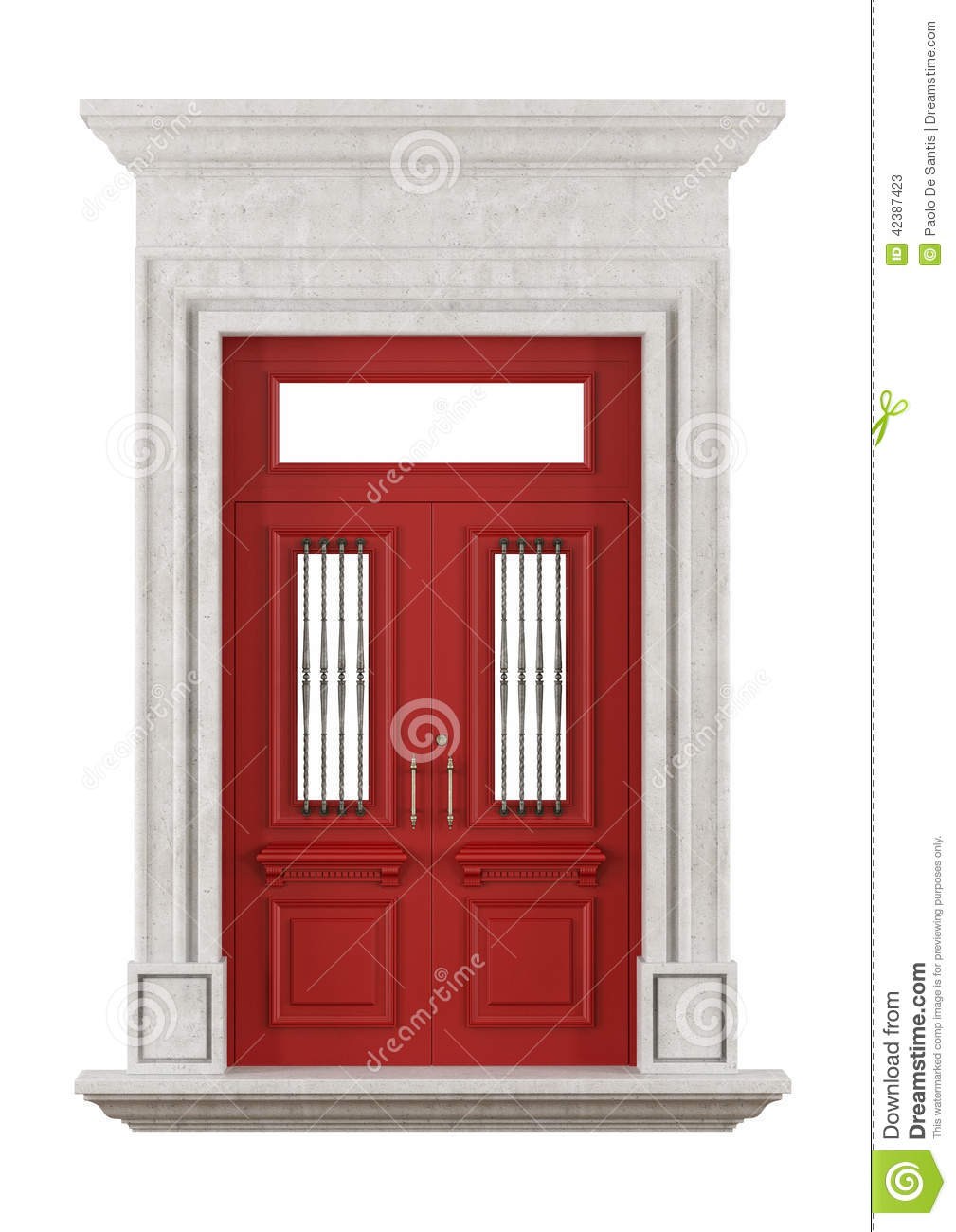 Stone Portal With Red Front Door Stock Illustration ...