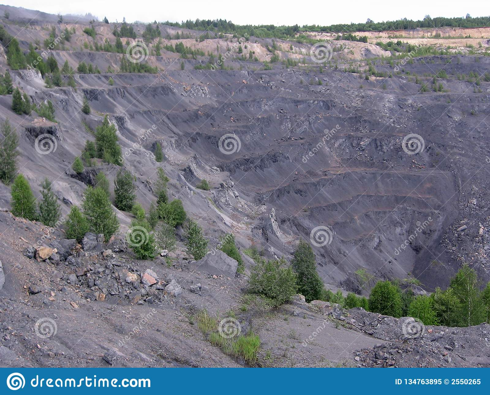 Stone quarry coal mining is carried out geodetic works