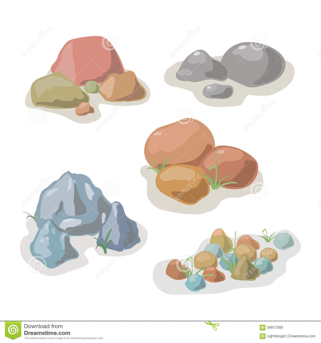 Stone And Rock Collection Vector Set Stock Vector Image