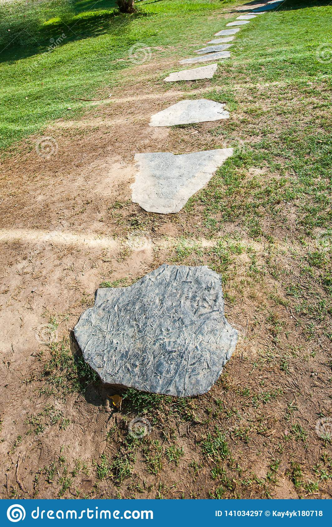 Stone round path, stones in a row