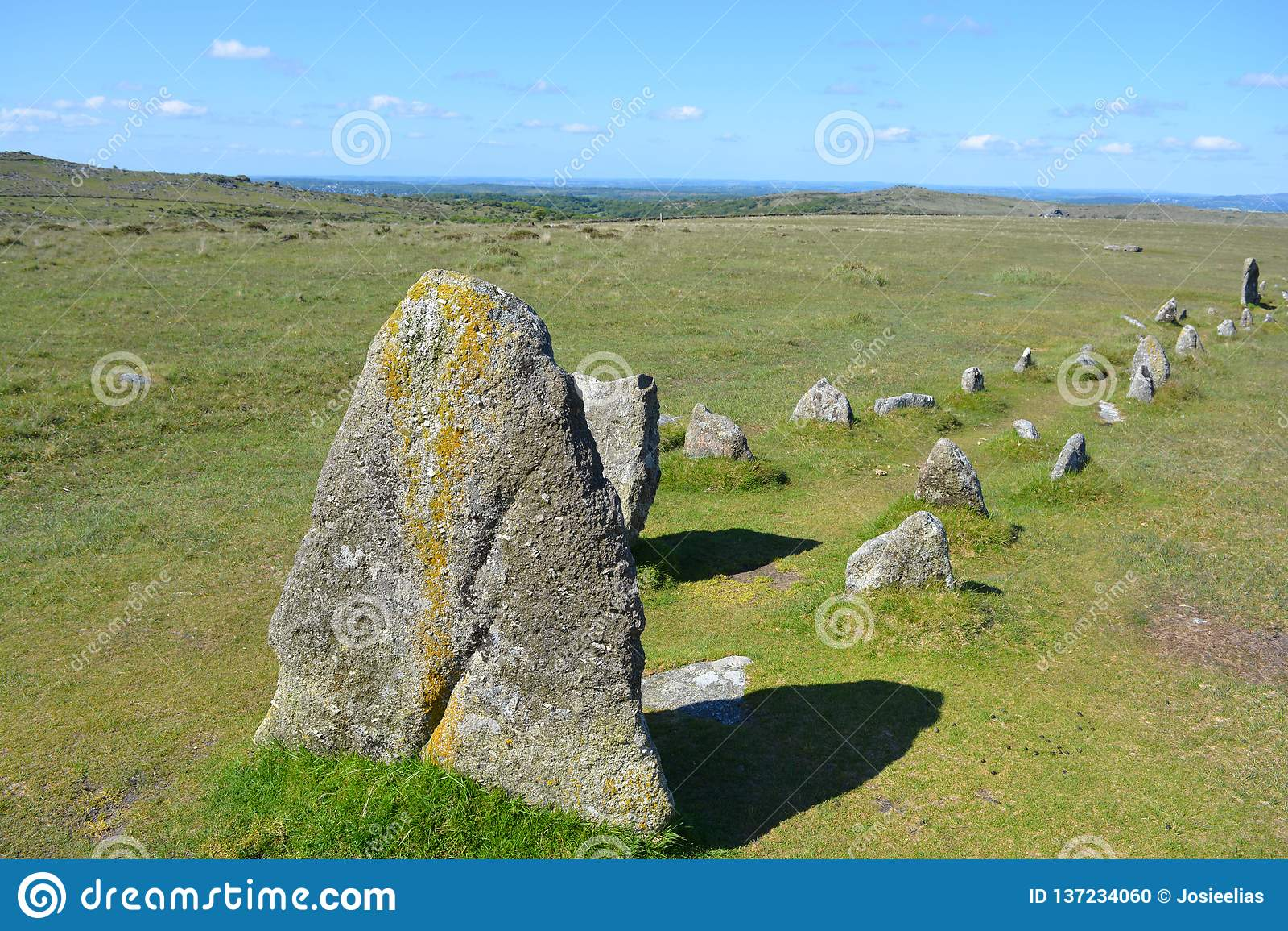 Prehistoric stone row,Dartmoor National Park, Devon, UK