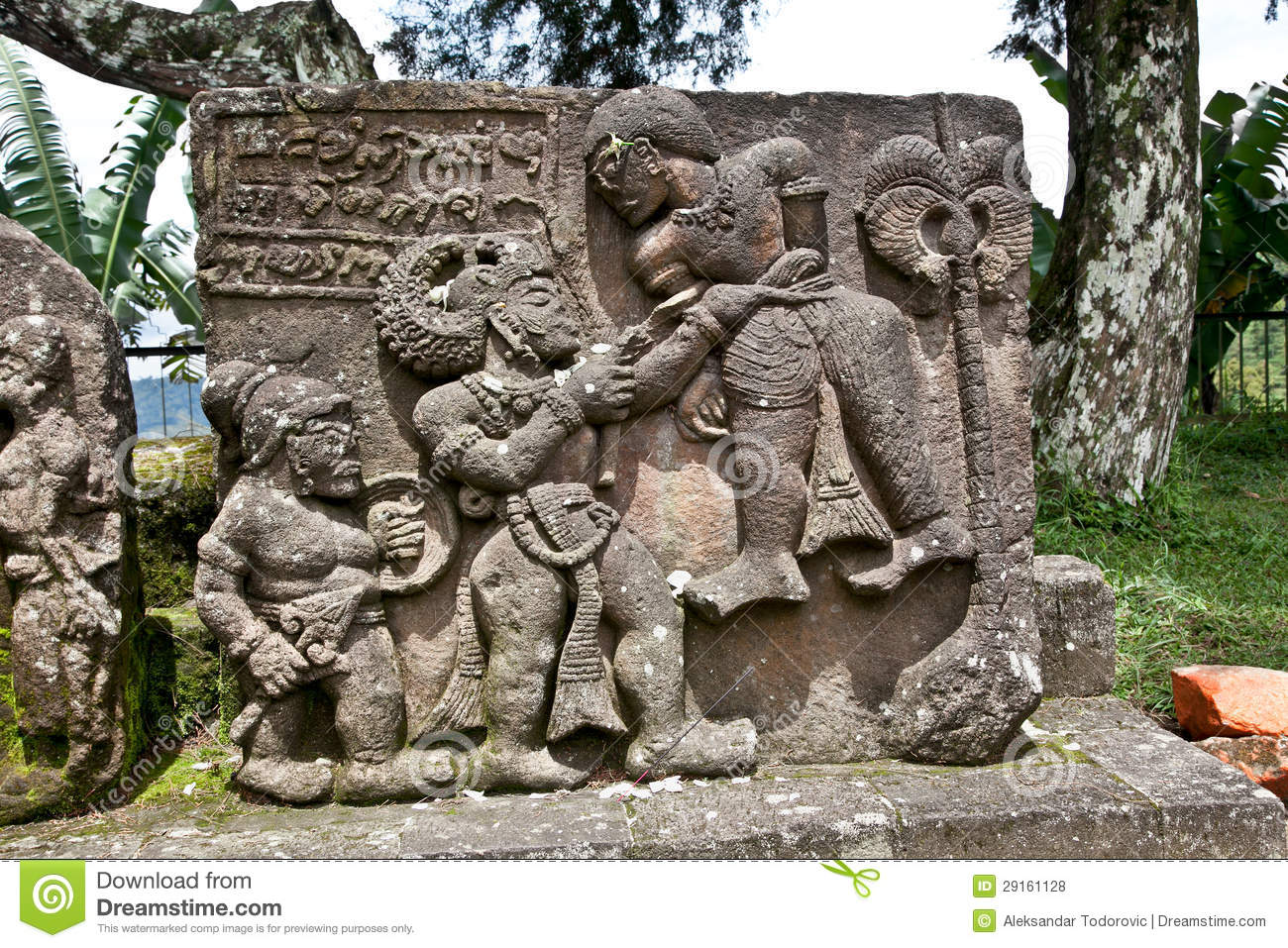 Stone sculpture in ancient candi sukuh on java indonesia