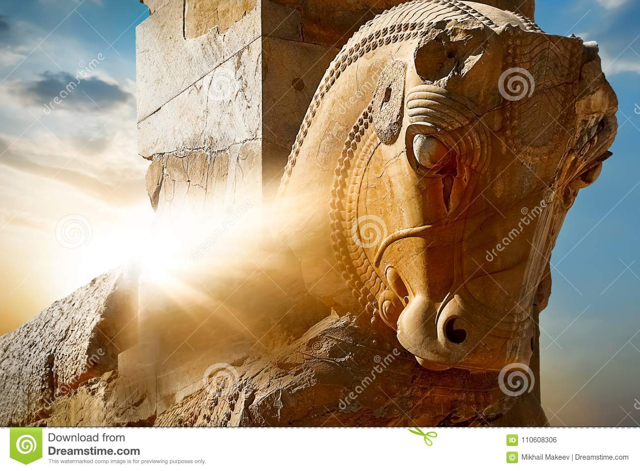 Stone Sculpture Of A Horse In Persepolis Against A Sunrise Iran Persia Shiraz Stock Photo Image Of Heritage East 110608306