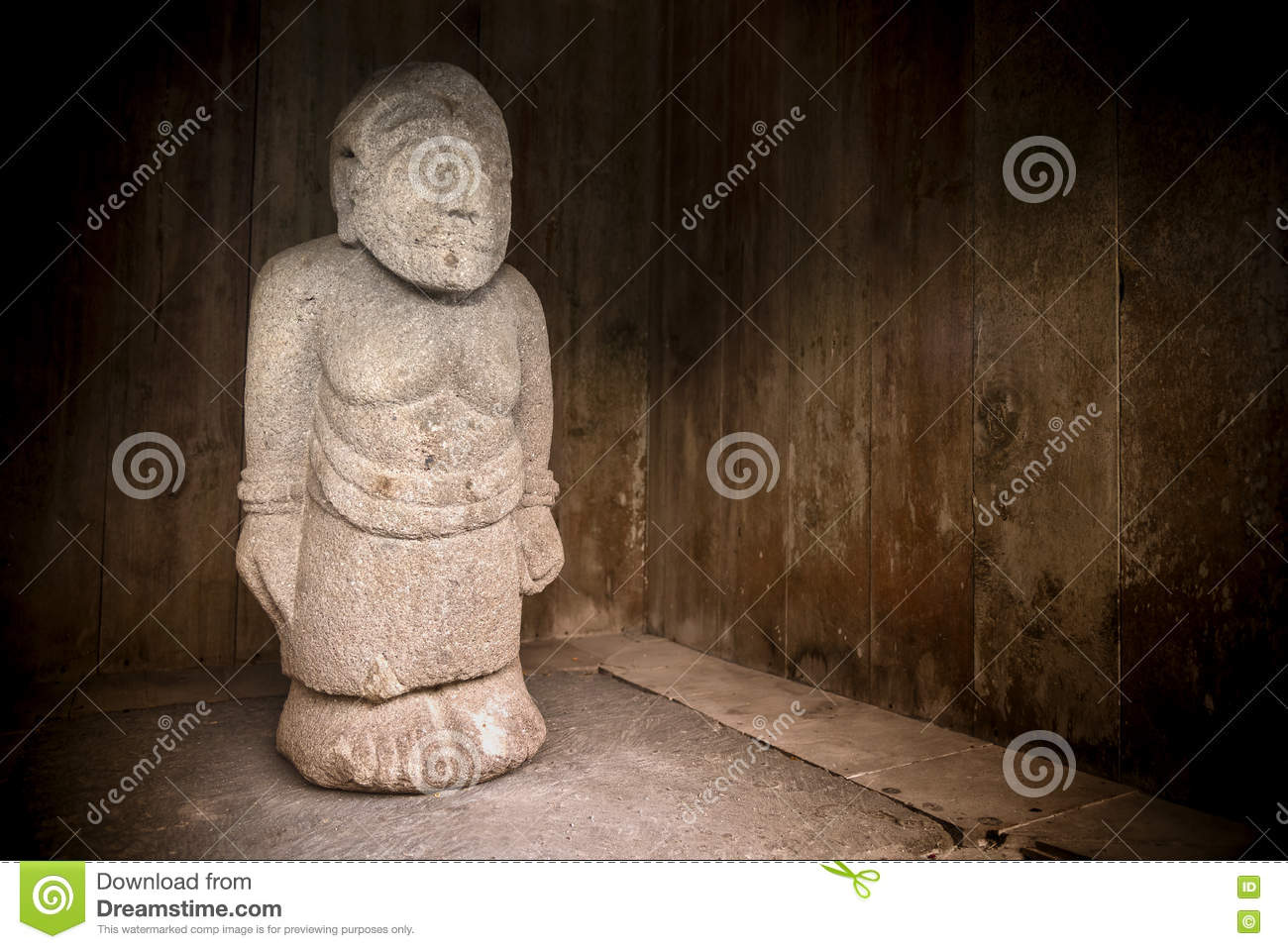 Stone Sculpture Of Man From Candi Cetho Jawa Indonesia Stock Image