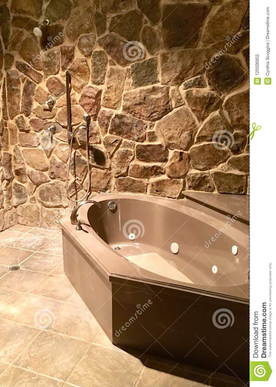 Stone Shower Bathtub Stock Photo Image Of Shower 120506952