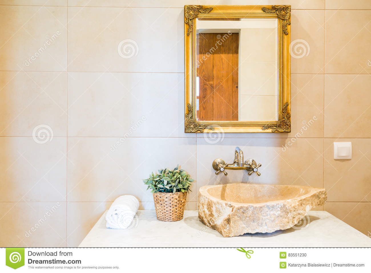 Stone Sink And Mirror In Bathroom Stock Photo - Image of stylish ...