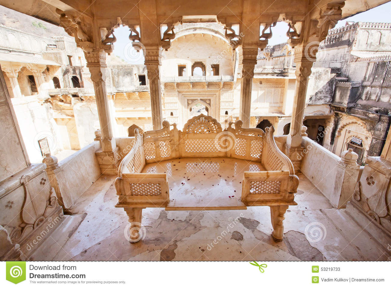 Stone Sofa Carved In Gazebo Of The 17th Century Palace