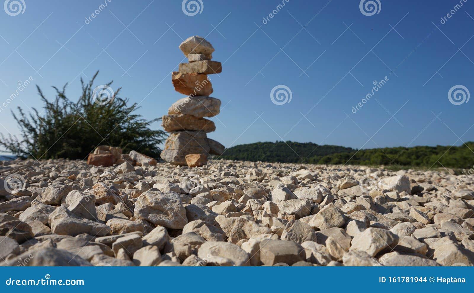 Stone Stacking Rock Balancing Art Stock Photo Image Of Blue