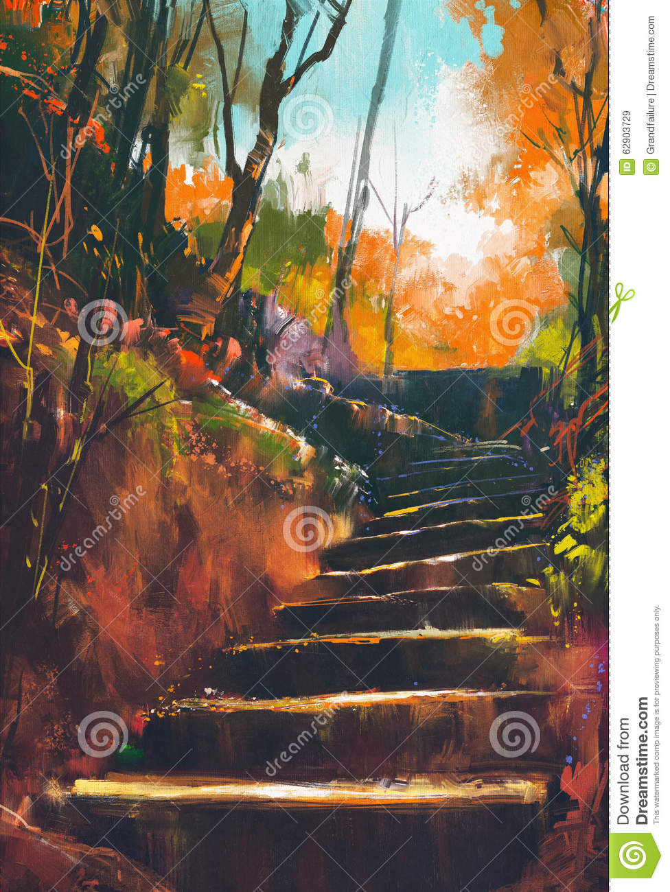 Stone Stair Path In Autumn Forest Stock Photo Image