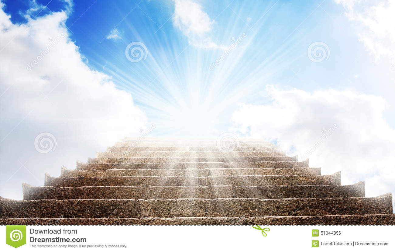 Download A Stone Stair In The Way Up To Blue Sky, There Is A Strong Light In The End Of The Way Stock Image - Image of cloud, entrance: 51044855