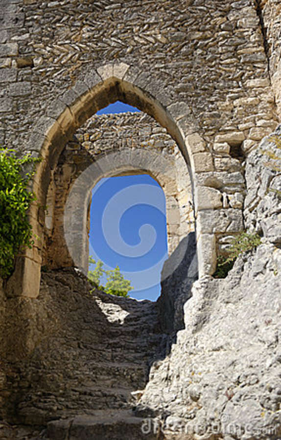 Stone Stairs And Arches In Medieval Castle Stock Photo