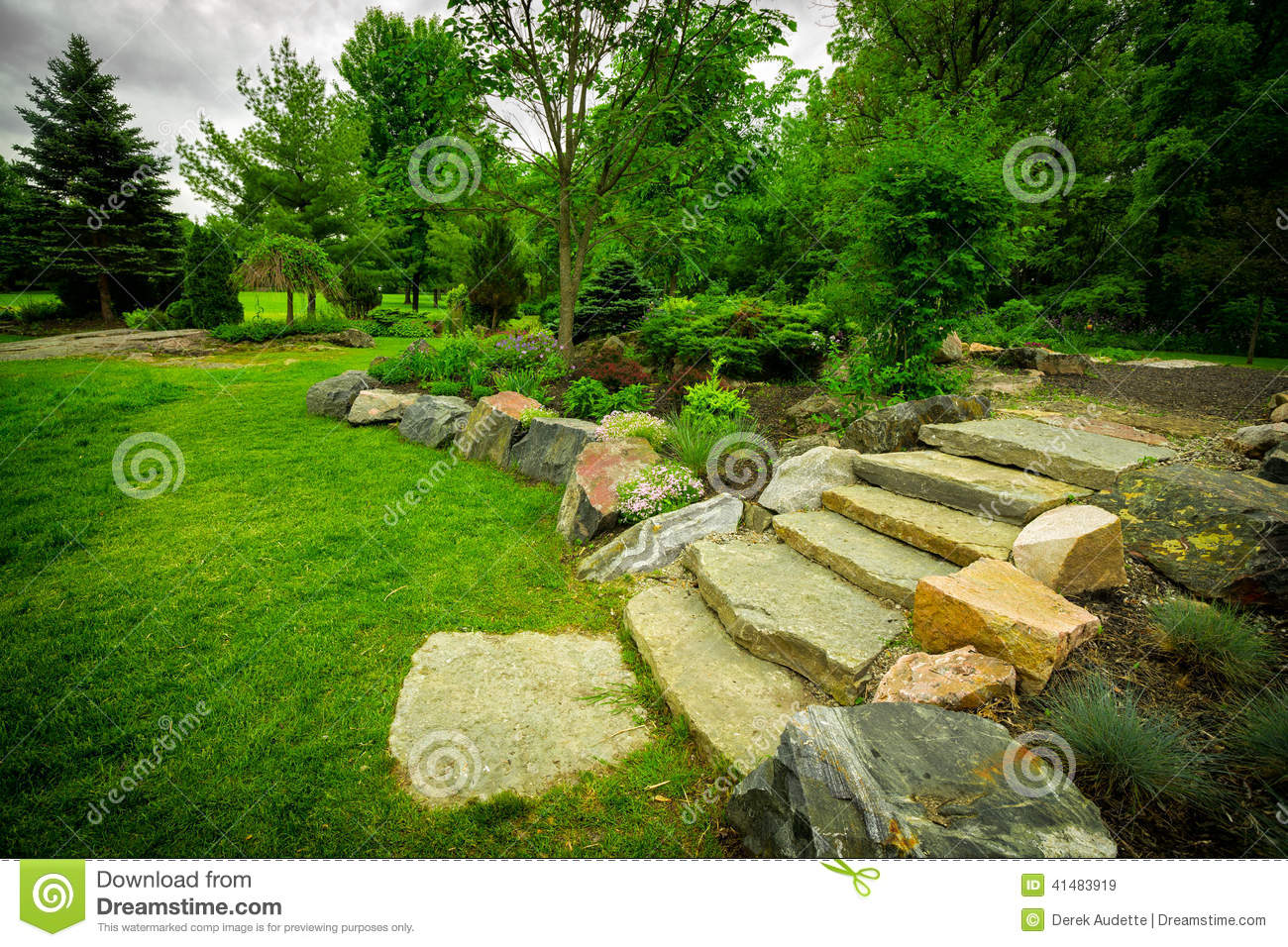 Stone Stairway On A Lush Green Garden Path Stock Image ...