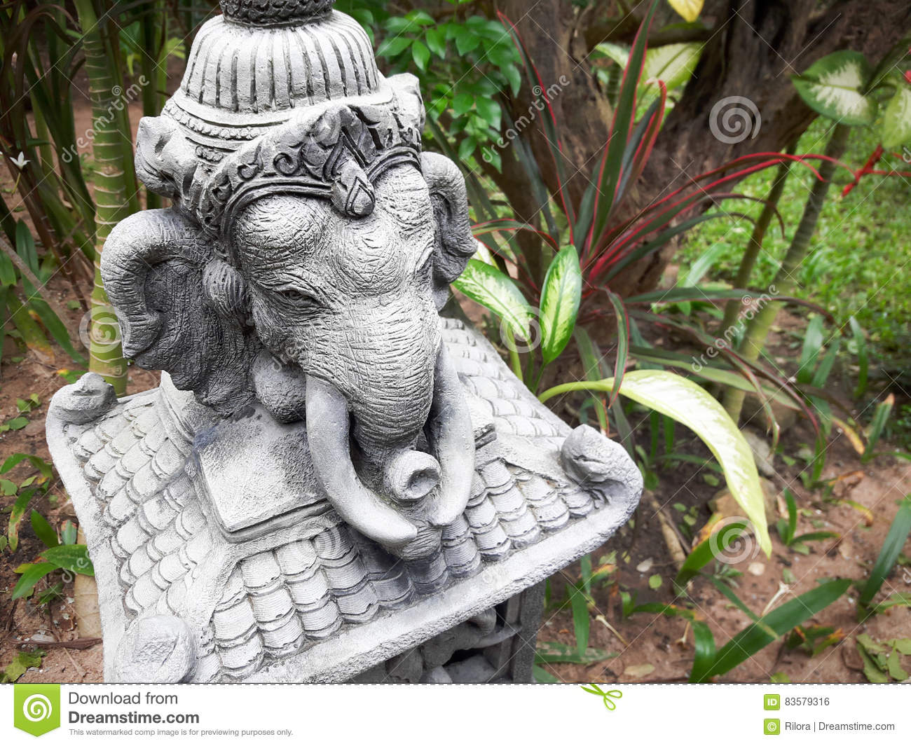 Stone Statue Of Elephant In The Garden. Thailand.