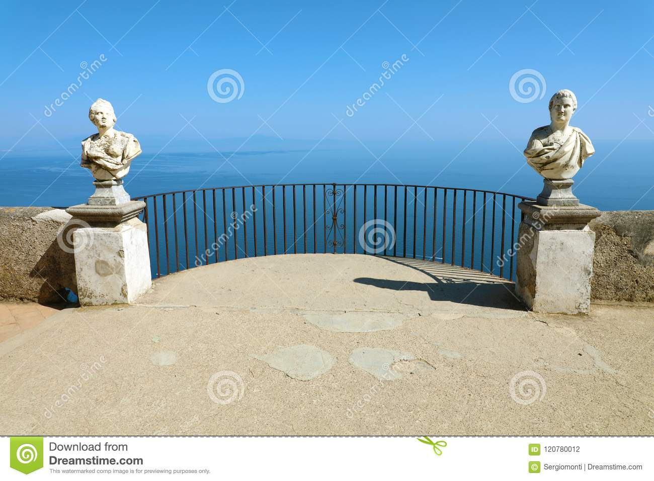 Stone Statues On Sunny Terrace Of Infinity In Villa Cimbrone