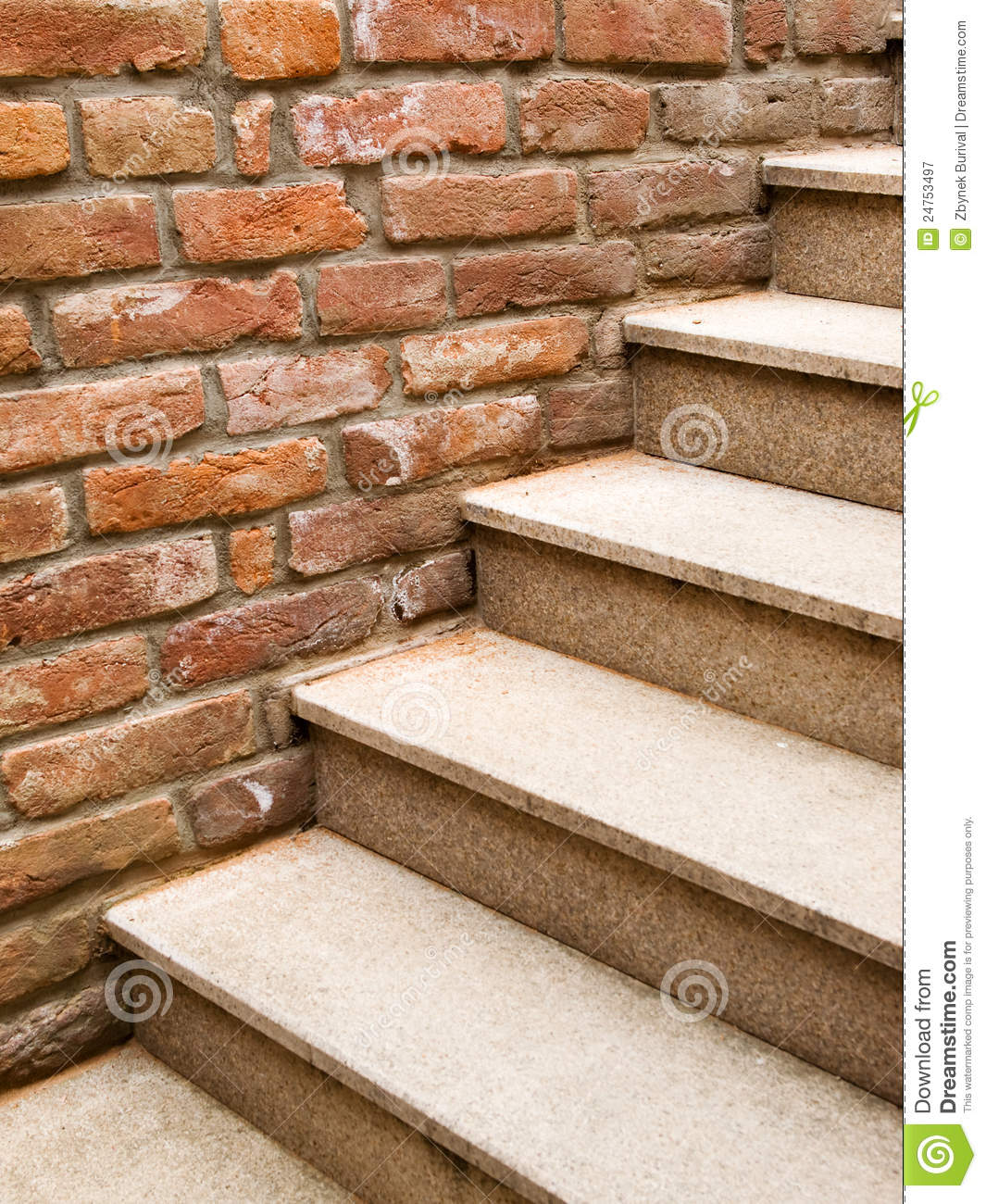 Marble Wall Stairs : Stone steps and brick wall royalty free stock photography