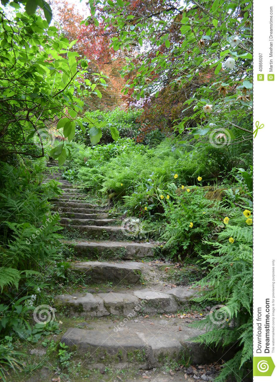 Royalty Free Stock Photo. Download Stone Steps In A Landscaped Garden.