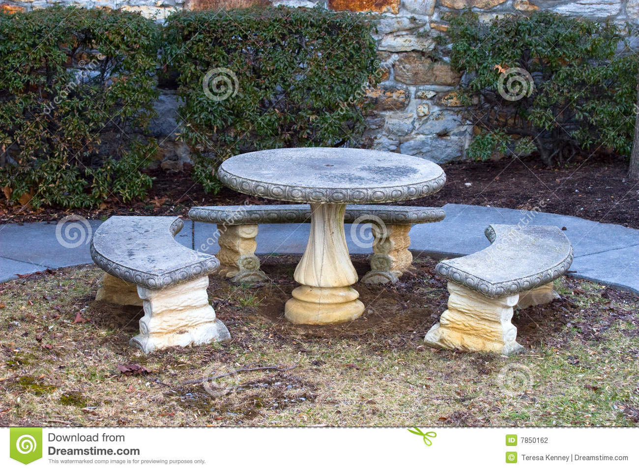 Good Benches Concrete Outdoors Stone Table ...