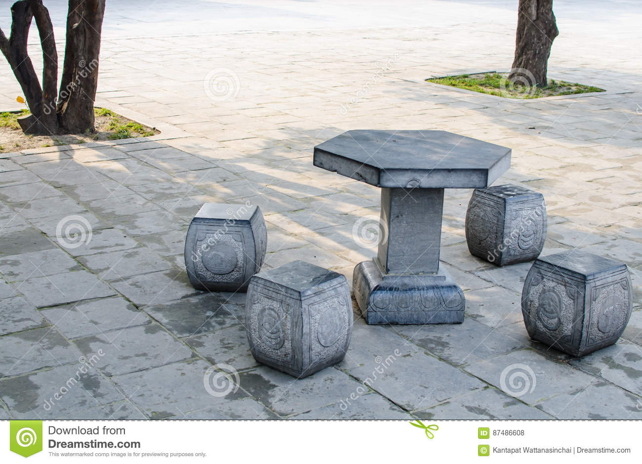 Stone Table And Benches.