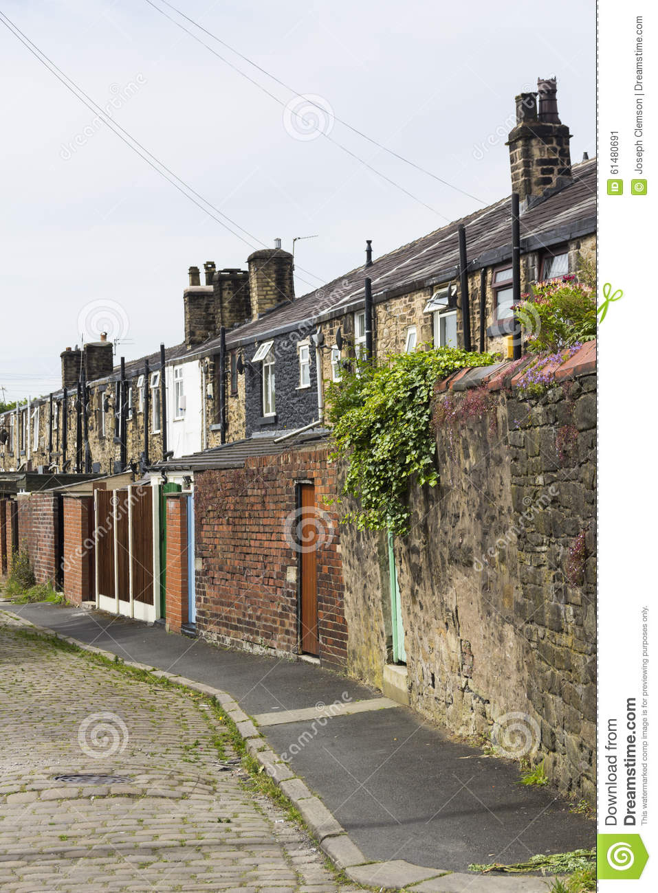 Stone terraced cottages back street stock photo image for North west house