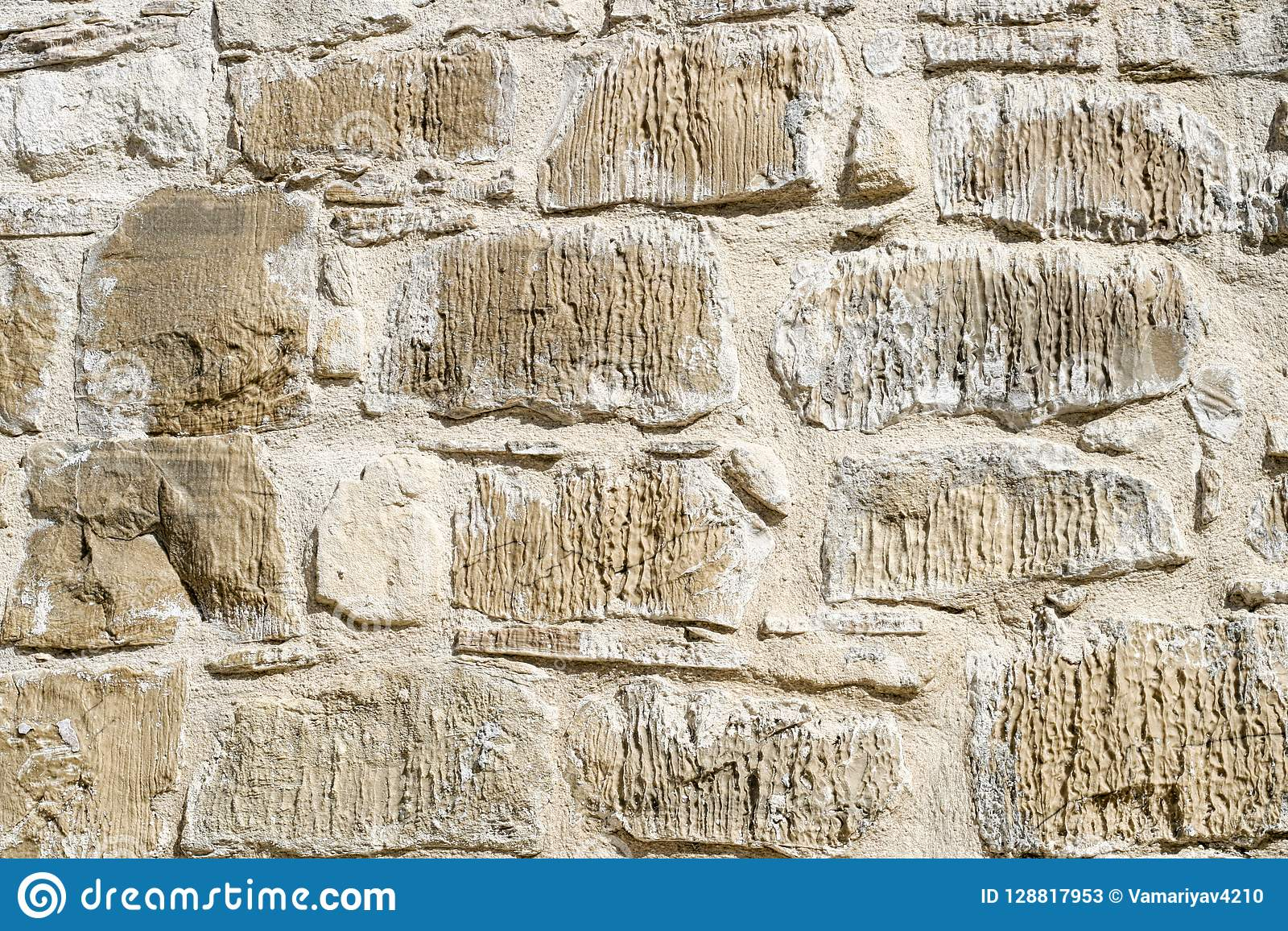 Beige Background Of Old Brick Wall Stone Texture Grunge Cement